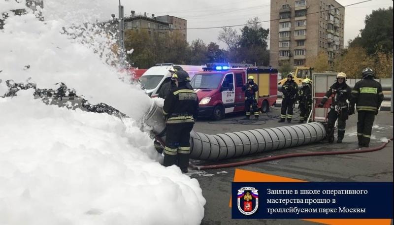 Занятие в школе оперативного мастерства прошло в троллейбусном парке Москвы